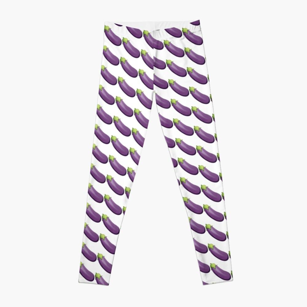 Eggplant Aubergine Emoji Leggings Front
