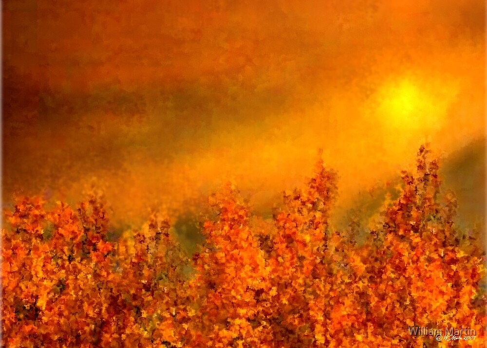 Fall Sunset Digital Painting by William Martin