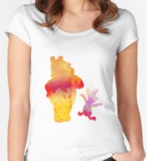 Bear and Pig Inspired Silhouette Women's Fitted Scoop T-Shirt