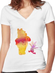 Bear and Pig Inspired Silhouette Women's Fitted V-Neck T-Shirt