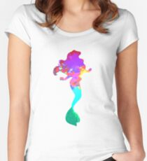 Mermaid Inspired Silhouette Women's Fitted Scoop T-Shirt