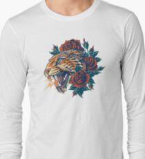 Camiseta de manga larga Leopard adornado (Versión en color)
