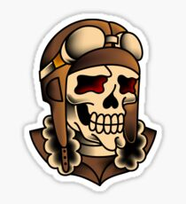 Kamikaze Fighter Pilot Skull Sticker