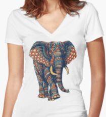 Ornate Elephant v2 (Color Version) Fitted V-Neck T-Shirt