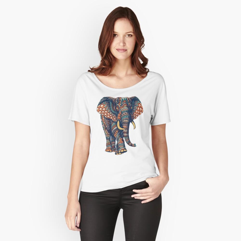 Verzierter Elefant v2 (Farbversion) Loose Fit T-Shirt