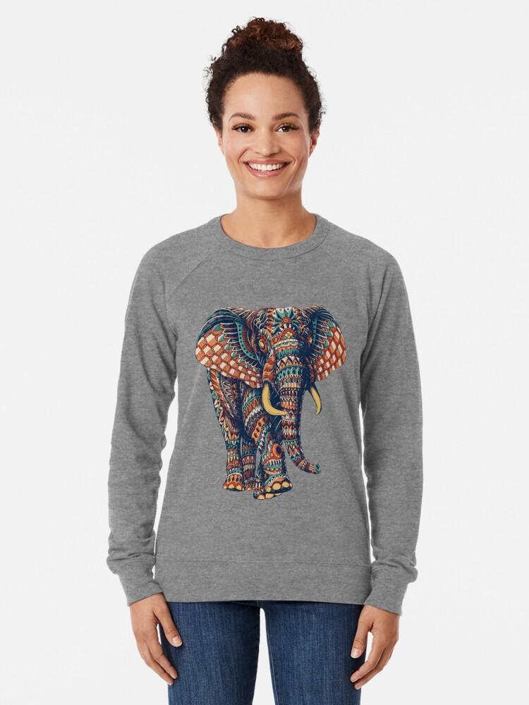 Alternate view of Ornate Elephant v2 (Color Version) Lightweight Sweatshirt
