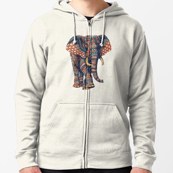 Ornate Elephant v2 (Color Version) Zipped Hoodie