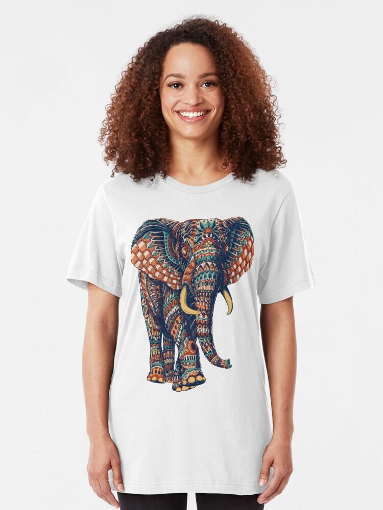 Alternate view of Ornate Elephant v2 (Color Version) Slim Fit T-Shirt