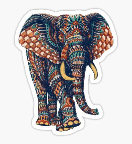 Ornate Elephant v2 (Color Version) Sticker