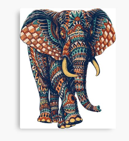 Ornate Elephant v2 (Color Version) Canvas Print
