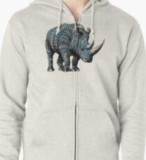 Rhino (Color Version) Zipped Hoodie