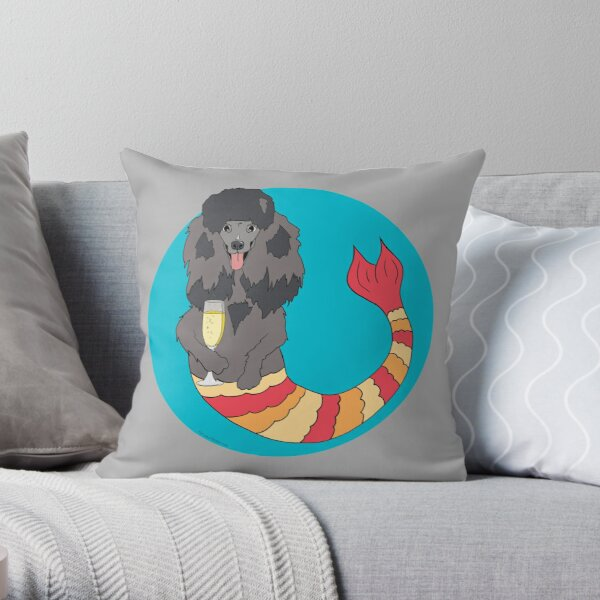 Sandy the Poodle Mermutt Throw Pillow