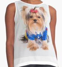 Little Yorkie Snow-white by Yana Reint Contrast Tank