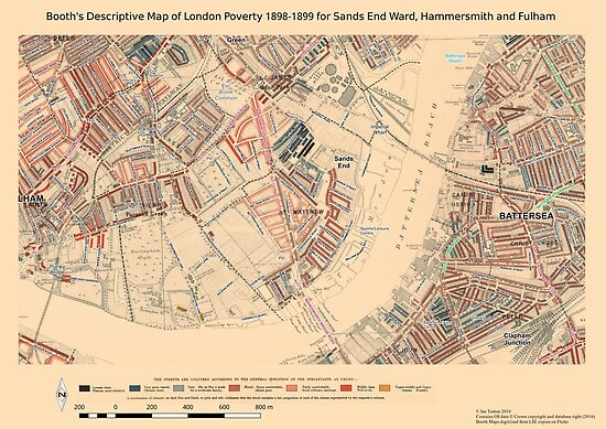 Booth 39 S Map Of London Poverty For Sands End Ward Hammersmith