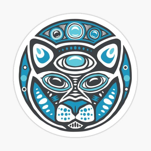 Cat Shamanic Animal Emblem - Grey Blue Sticker