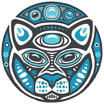 Cat Shamanic Animal Emblem - Grey Blue by Quire