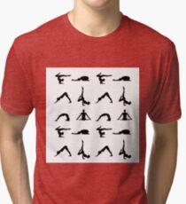 Yoga poses silhouette  Tri-blend T-Shirt