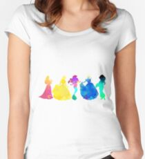 Princesses Inspired Silhouette Women's Fitted Scoop T-Shirt