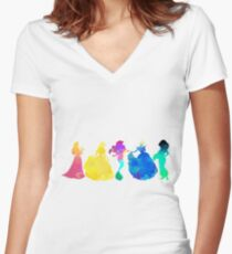 Princesses Inspired Silhouette Women's Fitted V-Neck T-Shirt