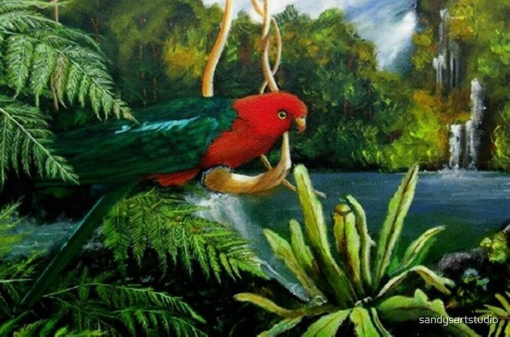 King Parrot         Acrylic painting  by sandysartstudio