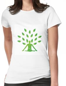 Person meditating under a tree  Womens Fitted T-Shirt