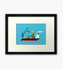 Cargo Tetris Ship Framed Print