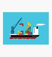 Cargo Tetris Ship Photographic Print