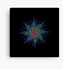 Neon Flower Mandala Canvas Print