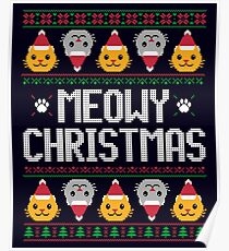 Ugly Christmas Sweater - Cat Poster