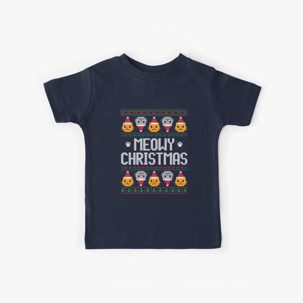 Hässlicher Weihnachtsstrickjacke - Katze Kinder T-Shirt