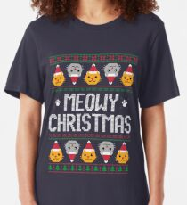 Ugly Christmas Sweater - Cat Slim Fit T-Shirt