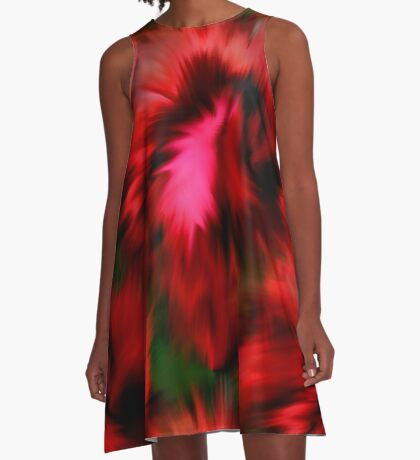 Vibrant Red Pink And Green Abstract Colors A-Line Dress