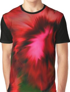Vibrant Red Pink And Green Abstract Colors Graphic T-Shirt