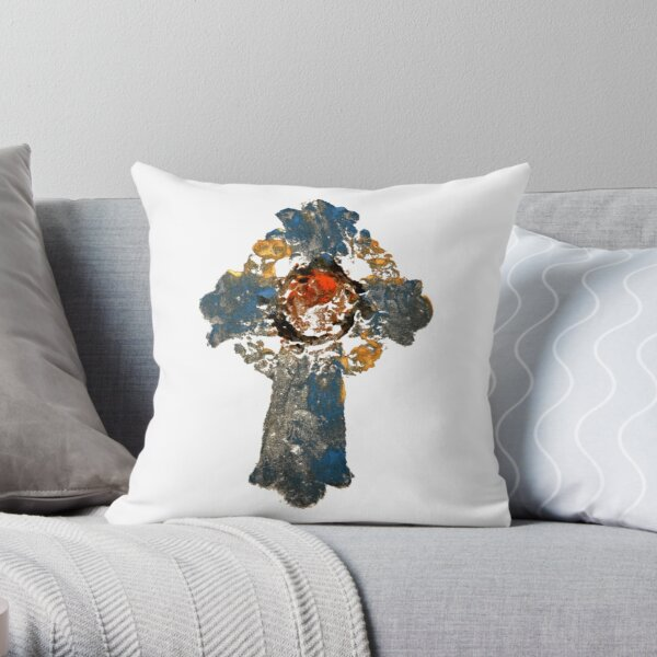 Blue Cross by artist Thomas Andrew Throw Pillow