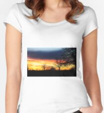 Sky Blue Sunset Women's Fitted Scoop T-Shirt