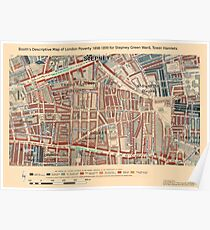 Booth's Map of London Poverty for Stepney Green ward, Tower Hamlets Poster