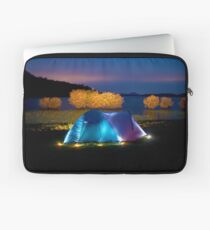 Illuminated tent on dam Laptop Sleeve