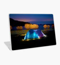 Illuminated tent on dam Laptop Skin