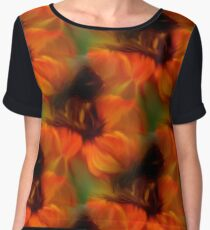Orange Brown And Green Abstract Colors Chiffon Top