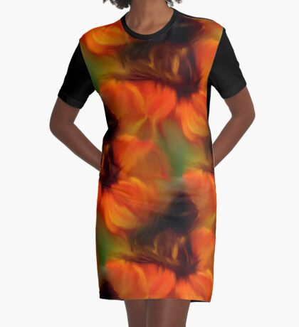 Orange Brown And Green Abstract Colors Graphic T-Shirt Dress
