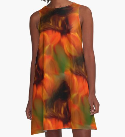 Orange Brown And Green Abstract Colors A-Line Dress