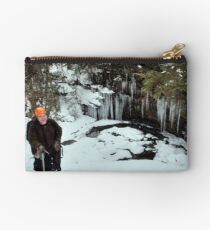 Winter Hiker At The Cliff's Edge Studio Pouch