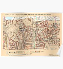 Booth's Map of London Poverty for Stoke Newington ward, Hackney Poster