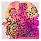 Tangle Art Pattern Love colored III von Diana Linsse