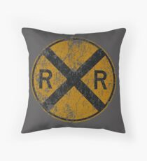 Distressed Railroad Crossing Sign Very Cool Vintage Throw Pillow
