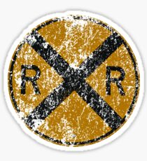 Distressed Railroad Crossing Sign Very Cool Vintage Sticker
