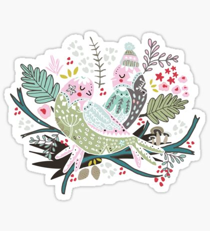 Holiday Birds Love II Sticker