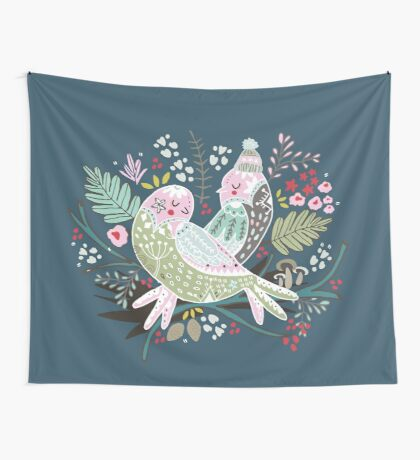 Holiday Birds Love II Wall Tapestry