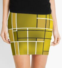Composition 11 with black and white lines Mini Skirt