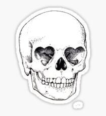 Heart Eyed Skull Sticker